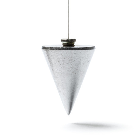 plummet: Metal plummet in the form of a cone hanged on a cord. Image is scuare and the object is isolated on white. Stock Photo
