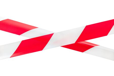 zones: Two crossed red and white tapes isolated on white background. This kind of tapes are using to mark and prevent from dangerous or risky zones. Usually in construction and road activities police actions and many others. Stock Photo