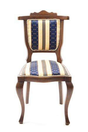 upholstered: Chair retro style upholstered in striped fabric isolated on white.
