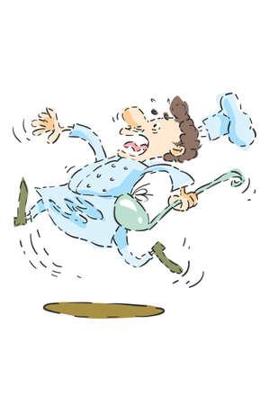 tremante: Cartoon luce colorata in esecuzione chef con un cucchiaio grande e cappello da cuoco con tremando muta, caduto Vettoriali
