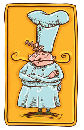 small chef in big chef hat and long mustaches in white cloth on yellow background in engraving style Vector