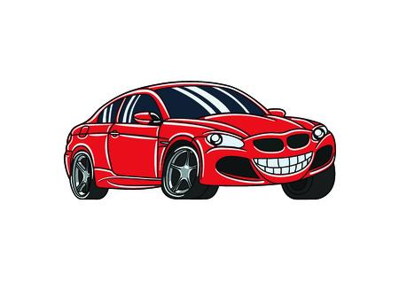 Red smile cartoon car Illustration