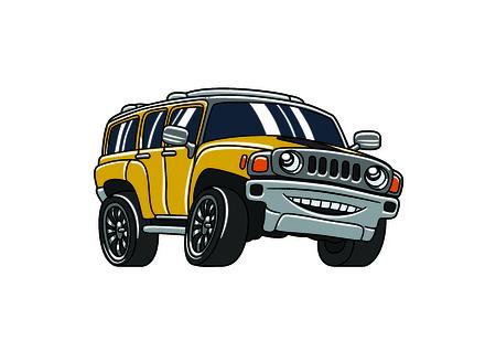 A yellow smiling cartoon car Illustration