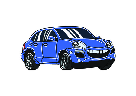 Blue smile cartoon car
