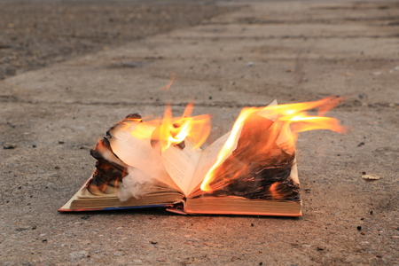 book with pages of embraced flames burns on the asphalt