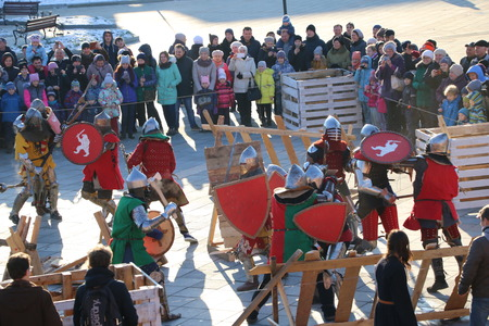 YOSHKAR-OLA, RUSSIA - NOVEMBER 4, 2017: Festival of historical reconstruction Winter is near! - knight group battles and maneuvers in medieval style Editorial