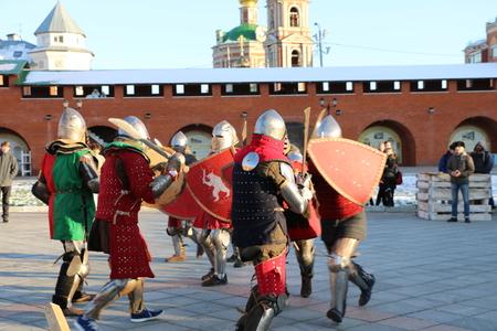 YOSHKAR-OLA, RUSSIA - NOVEMBER 4, 2017: Festival of historical reconstruction Winter is near! - knight group battles and maneuvers in medieval style Redakční