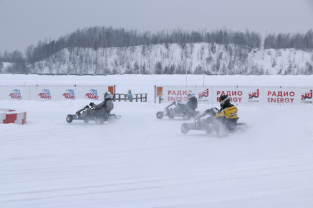 KAZAN, RUSSIA - DECEMBER 23, 2017: Opening of the Winter Season in the Kazan Ring Canyon - Free open auto show - winter carting on the snow track