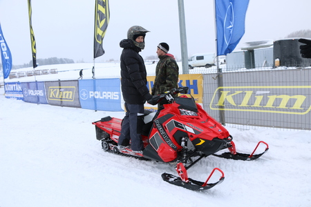 KAZAN, RUSSIA - DECEMBER 23, 2017: Opening of the Winter Season in Kazan Ring Canyon - Free open auto show - exhibition, presentation and test drive of different models and upgrades of tourist and sport snowmobiles