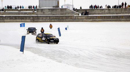 CHEBOKSARY, RUSSIA - JANUARY 28, 2018: Winter auto show - ice race. car rally on  frozen bay