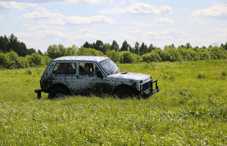 OBSCHYARS, RUSSIA - JUNE 3, 2018: Jeep Sprint and Exhibition of SUVs and Modified Vehicles, dedicated to  Children's Day Standard-Bild - 105120832