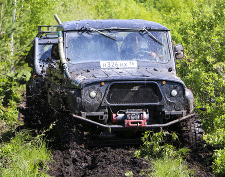 OBSCHYARS, RUSSIA - JUNE 3, 2018: Jeep Sprint and Exhibition of SUVs and Modified Vehicles, dedicated to  Children's Day