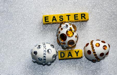 Easter eggs in shining rhinestones.  symbol of  rich Easter week. 写真素材