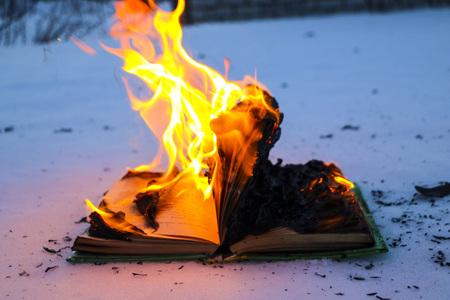 libro en llamas en la nieve. las páginas con el texto en el libro abierto arden con una llama brillante.