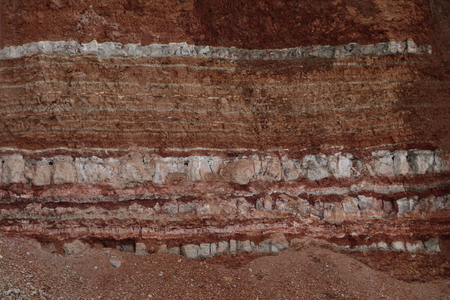 die Textur verschiedener Tonschichten unter der Erde in einem Tonsteinbruch nach geologischer Bodenuntersuchung. Standard-Bild