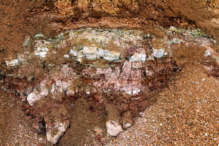 the texture of different layers of clay underground in a clay quarry after geological study of the soil.