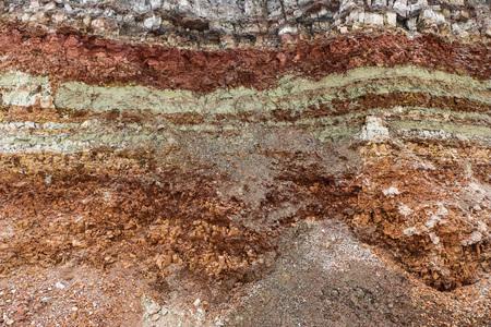 la texture de différentes couches d'argile souterraine dans une carrière d'argile après étude géologique du sol. Banque d'images