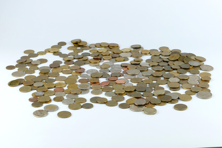 Pile of coin isolated on white background