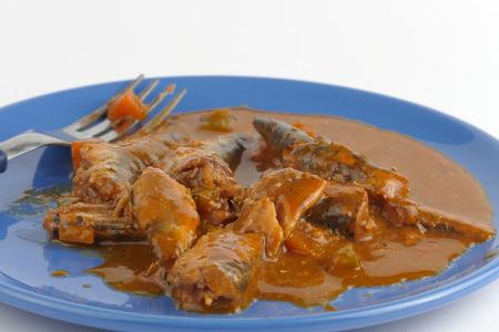 sardine can: Spicy Sardines in tomato sauce Stock Photo