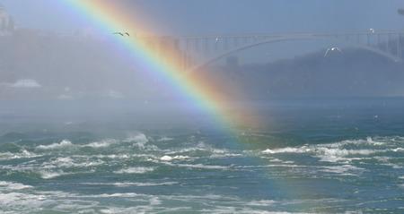 natural bridge state park: Rainbow at Niagara Falls in Canada with Rainbow Bridge