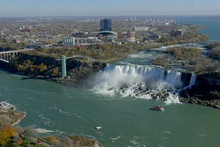 Cruise ship at Niagara fall Stock Photo