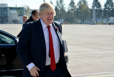 conservatives: Belgrade, Serbia. November 11th 2016 - Boris Johnson, Secretary of State for Foreign and Commonwealth Affairs with his book, The Churchill Factor