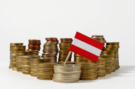 austria flag: Austria flag waving with stack of money coins