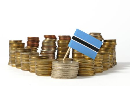 Botswana flag waving with stack of money coins