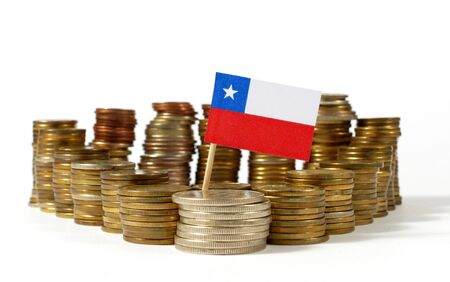 Chile flag waving with stack of money coins