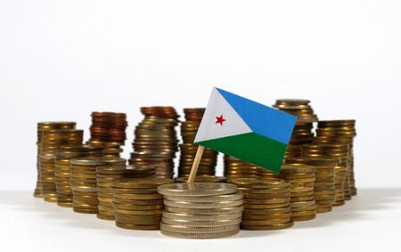 Djibouti flag waving with stack of money coins