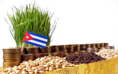 Bandera de Cuba ondeando con pila de monedas de dinero y pilas de semillas de trigo y arroz