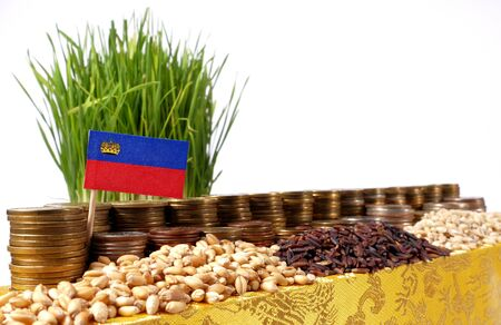 Liechtenstein flag waving with stack of money coins and piles of wheat and rice seeds