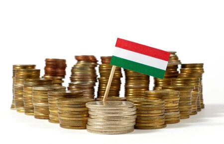 金コインのスタックで手を振っているハンガリーの国旗
