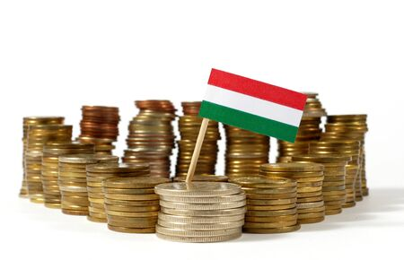Hungary flag waving with stack of money coins Фото со стока