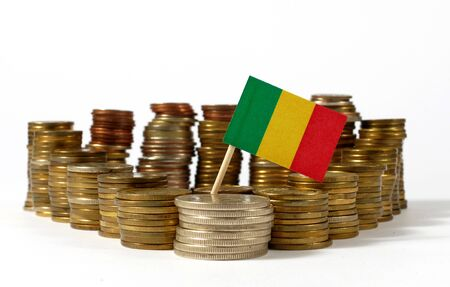 Mali flag waving with stack of money coins