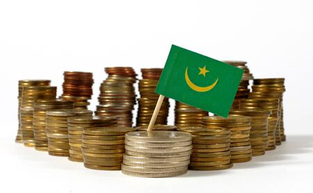 Mauritania flag waving with stack of money coins