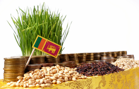 Sri Lanka flag waving with stack of money coins and piles of wheat and rice seeds