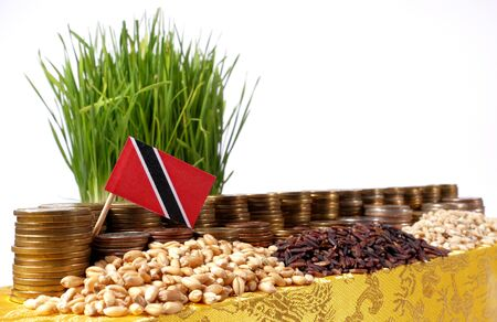 Trinidad and Tobago flag waving with stack of money coins and piles of wheat and rice seeds