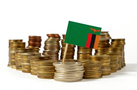 Zambia flag waving with stack of money coins