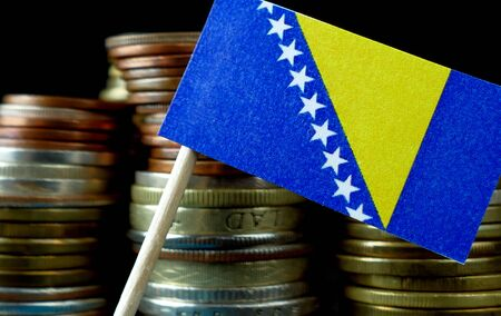Bosnia and Herzegovina flag with stack of money coins