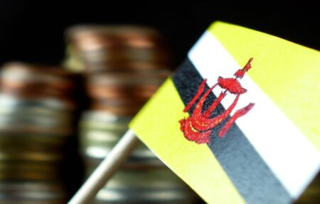 Brunei flag waving with stack of money coins macro