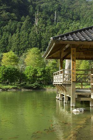 pavilion in lake  close up photo