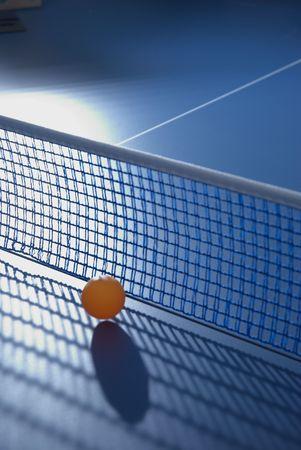 ping pong: ping pong table and stop ball close up Stock Photo