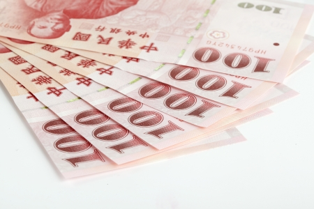 Six piece of one hundred dollar of  New Taiwan Dollar cash close up with white background photo
