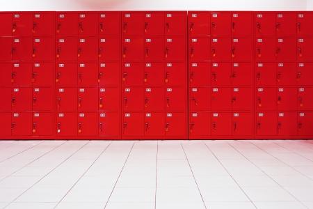 locker room: deposit locker boxes in red color