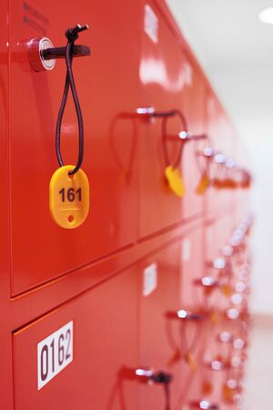 deposit locker boxes in red color photo
