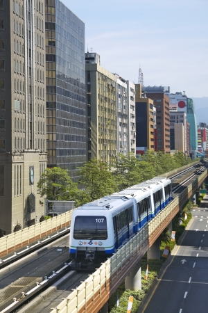 Train runs on Evelated Metro Railway ,Taipei