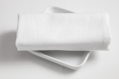 clothe: dish and  tablecloth on white clothe table