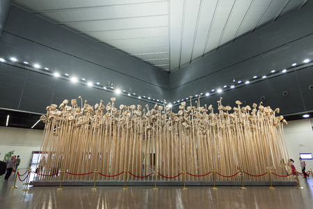 china art: Shanghai, China,  June, 6th, 2013 : China  Art Museum interior exhibitions