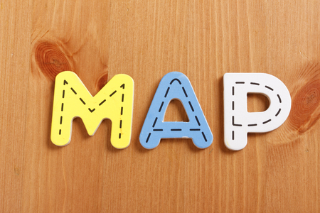 spell: MAP, spell by woody puzzle letters with woody background